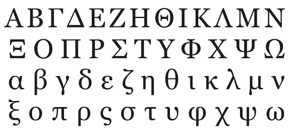 Greek alphabet in print and cursive writing