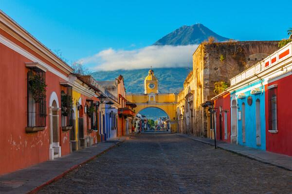 Colourful houses in Antigua in Guatemala