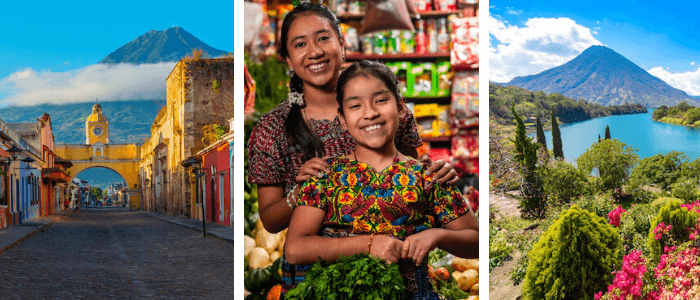 Guatemala Facts for Kids - images Antigua, smiling Guatemalans, Lake Atitlan - from shutterstock.com