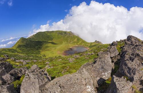 Crater lake on Hallasan mountain