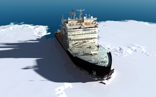 Icebreaker ship in the Arctic Ocean