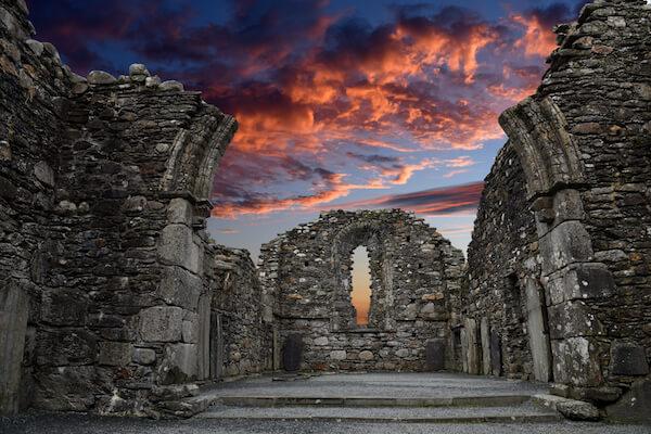Glendalough Monastery at Sunset