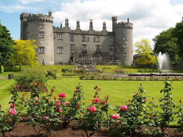 Ireland's Kilkenny castle with roses and garden