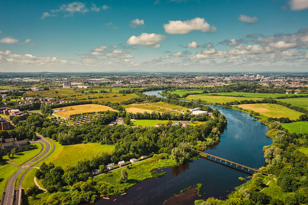 Irish landscape with Shannon River