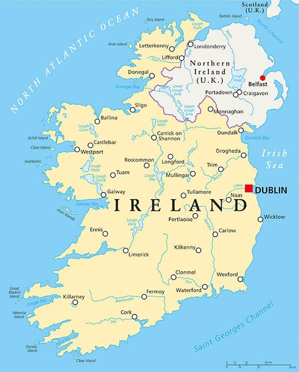 Map of the island of Ireland