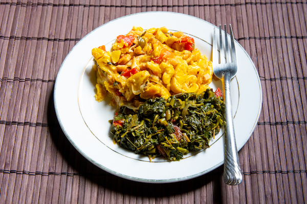 Jamaican traditional dish 'Ackee and saltfish' and callaloo