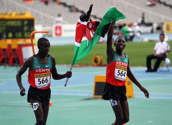 Gilbert Kiplangat Kirui and Conseslus Kipruto - winners of 3000 Metres Steeplechase on IAAF World Junior Athletics Championships 2012- image by Denis Kuvaev/shutterstock.com