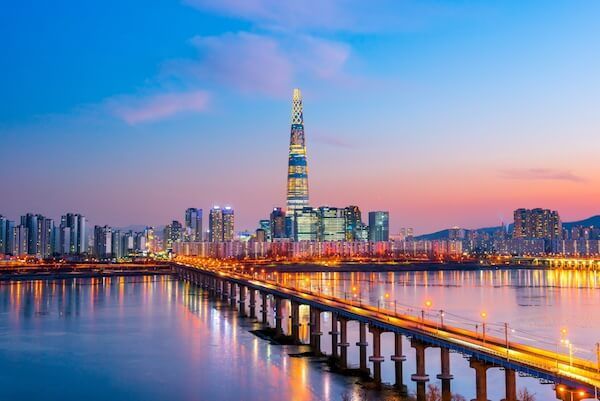 Seoul on the Han River with Lotte World Tower at Twilight
