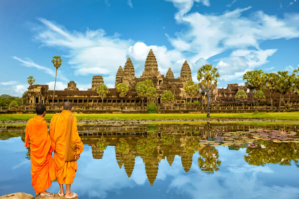 Angkor Wat and two monks