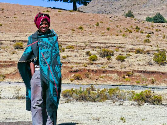 Basotho blanket worn by boy in Lesotho