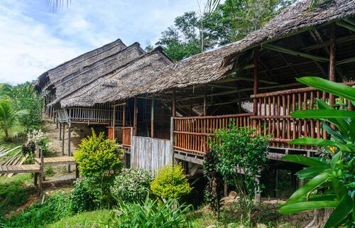 Malaysian longhouse in Borneo