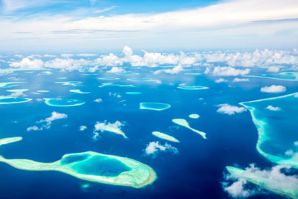 Aerial of Maldives from an airplane