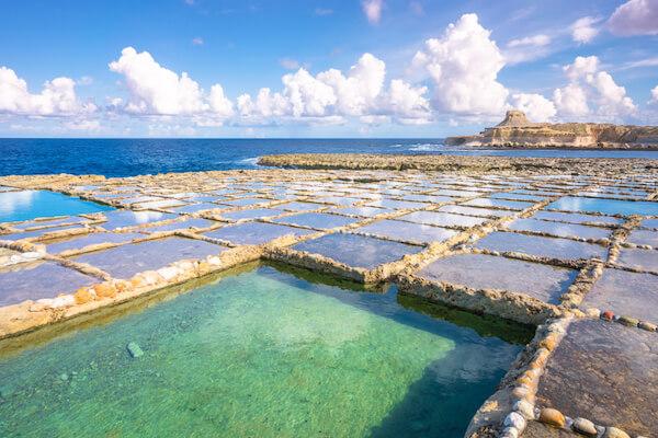 Saltpans on Gozo island