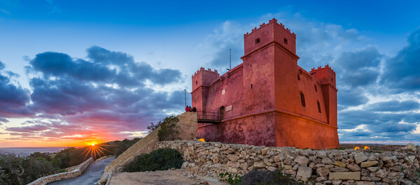 Saint Agatha Red Fortress in Malta at sunset
