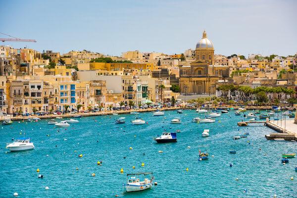 Valetta in Malta Cityscape with turquoise sea