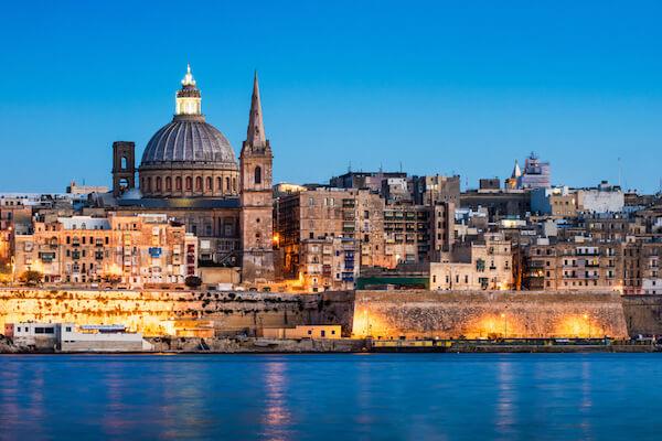 Malta's capital city Valletta in evening light - image by shutterstock