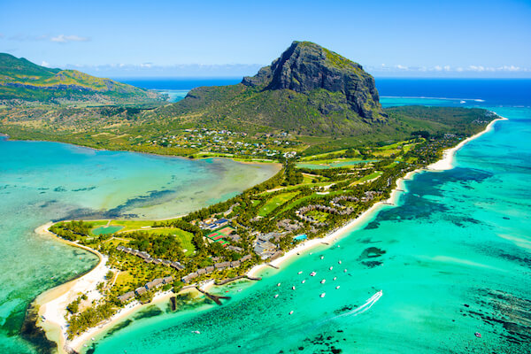 Mauritius island with Le Morne peninsula