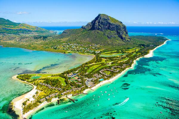 Mauritius island with Le Morne peninsula