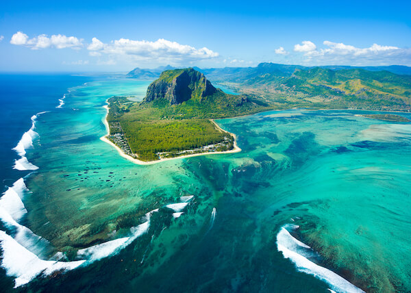 Morne Brabant and underwater waterfall of Mauritius which is an optic illusion