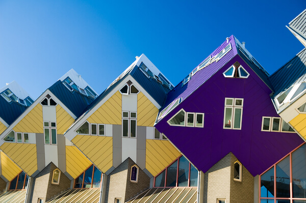 Rotterdam's innovative cube houses are tilted at an 45 degree angle