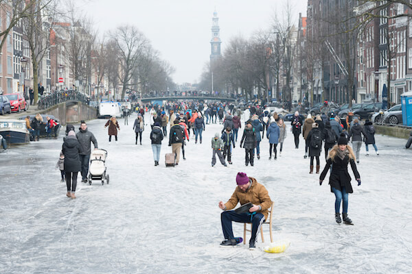 Iceskating on the Amsterdam canals - image by Elisabeth Aardema/shutterstock.com
