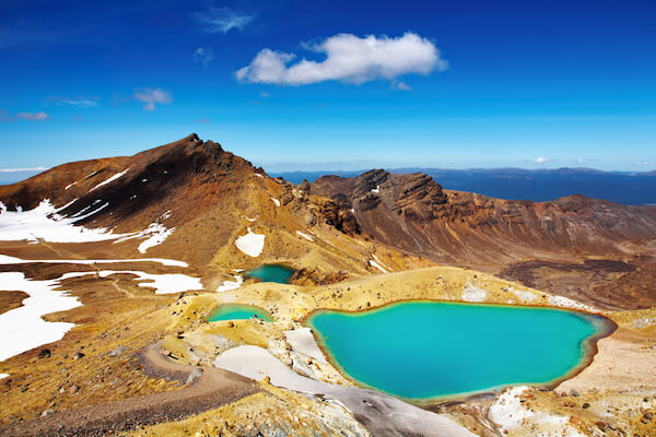 Tongariro National Park in New Zealand with Emerald lakes