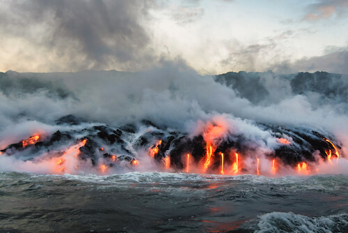 Pacific Ocean Volcano erupting and lava flow on Big Island Hawaii - image by AllanG