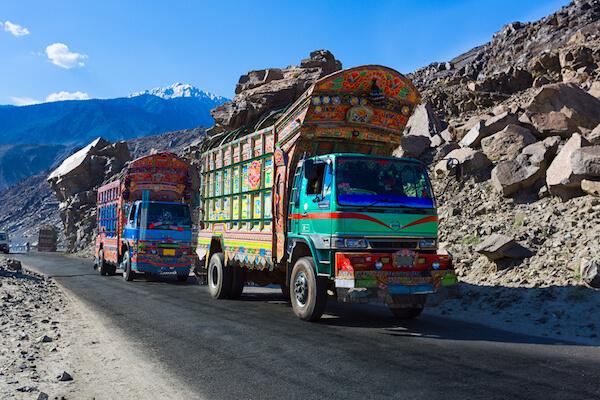 Pakistani truck decorated