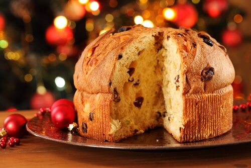 Italian panettone with Christmas decoration