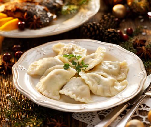 Pierogi dumplings for Christmas in Poland