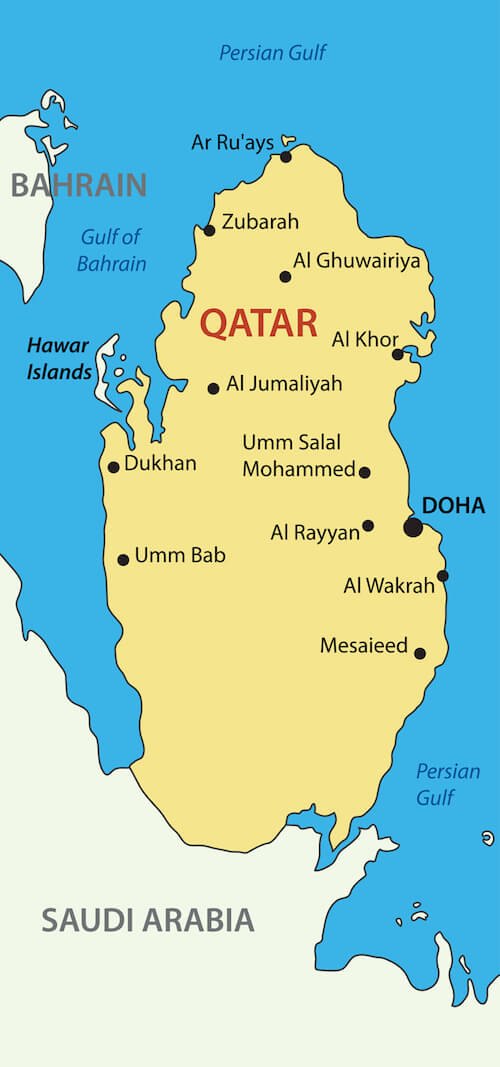 Qatar Map by Shutterstock