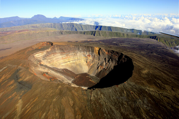 Piton de la Fornaise crater a seen from the air
