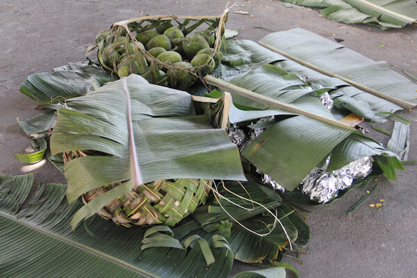 Breadfruits are commonly cooked over fire on hot stones. They are staple food with rice and taro leaves.