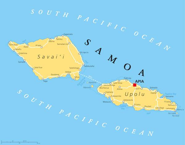 Samoa map of the two main islands: Upolu and Savaii