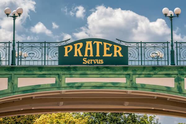 Prater sign in Vienna Austria