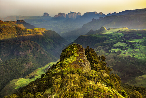 Ethiopia Simien mountains at sunrise