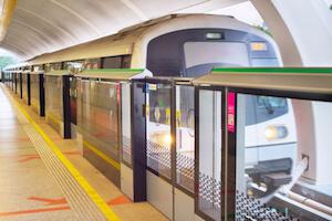 Singapore MRT train at station