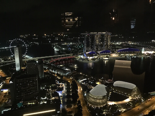 Singapore Attractions: Nighttime Views from Stamford Hotel's bar.