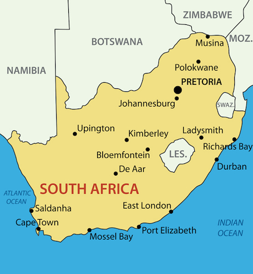 south africa map with landforms