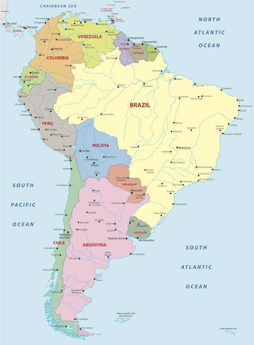 South America Facts for Kids | Geography | Attractions | People on map of argentina, map of nicaragua, map of aruba, map of belize, map of united states, map of paraguay, map of middle east, map of costa rica, map of guatemala, map of western hemisphere, map of the americas, map of dominican republic, map of bahamas, map of ecuador, map of caribbean, map of venezuela, map of honduras, map of guyana, map of bolivia, map of antarctica,