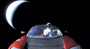 SpaceX red tesla and spaceman