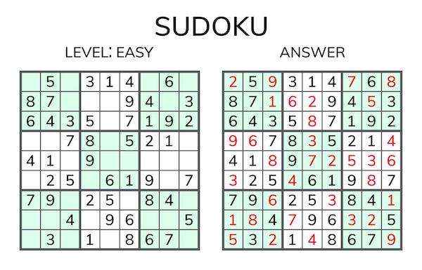 Sample sudoku game with answers