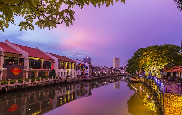 Sunset in Malacca in Malaysia