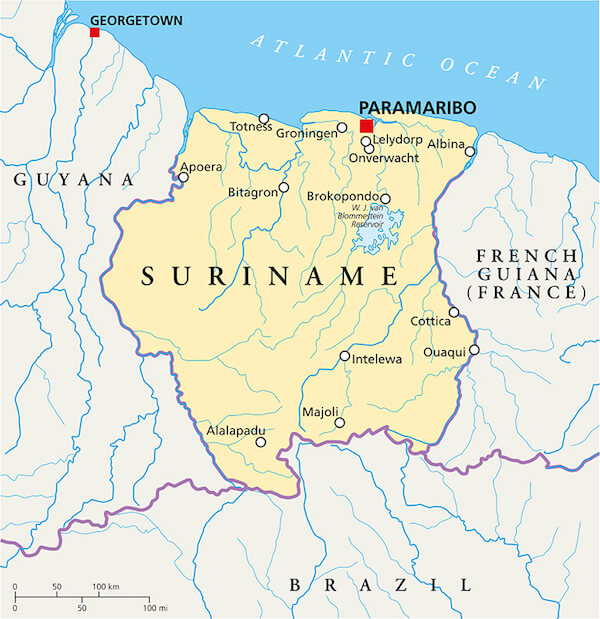 Map of Suriname with neighbouring countries