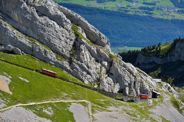 Cog railway on Pilatus Mountain in Switzerland