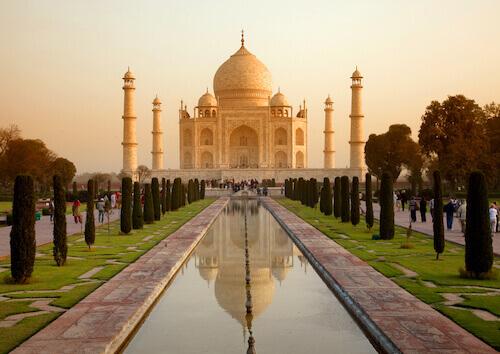 Taj Mahal in India at Sunrise