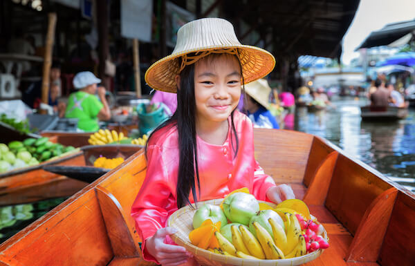 Typical floating market in Thailand