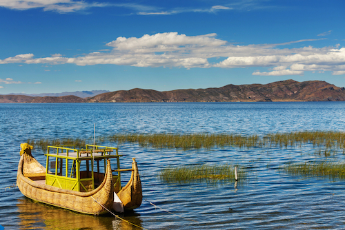 Boat on Lake Titicaca, South America's largest lake