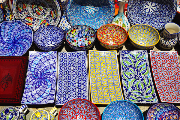 Pottery sold at a market in Tunisia