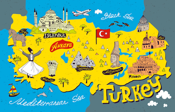 Turkey map for kids